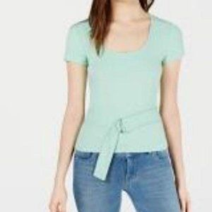 Bar III Green Scoop Neck Top Front Belt, Size XL